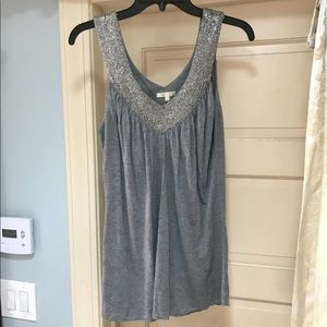 MATTY M Grey Silver Beaded double V Top Blouse L